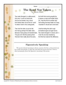 "Robert Frost was a master of language. Your student will explore Frost's use of figurative language in ""The Road Not Taken"" in this worksheet. It's appropriate for Common Core Standards for Reading Literature for 7th grade. Other grades may also find it helpful."