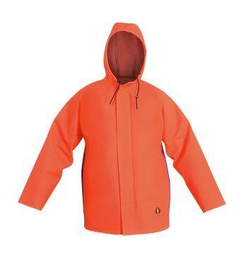 """КУРТКА ШТОРМОВАЯ ВЛАГОЗАЩИТНАЯ Артикул: 1055 Куртка с центральной бортовой застежкой на тесьму – """"молнию"""", с ветрозащитной планкой на потайные кнопки; с капьюшоном. Куртка с двусторонними герметичными швами, выполнена из двух видов влагостойких тканей: прочной Plavitex Heavy Duty и комфортной Plavitex. Рекомендуется для рыболовецких работ. Предназначена для работы в тяжелых атмосферных условиях. Защищает от дождя, ветра и соленой воды."""