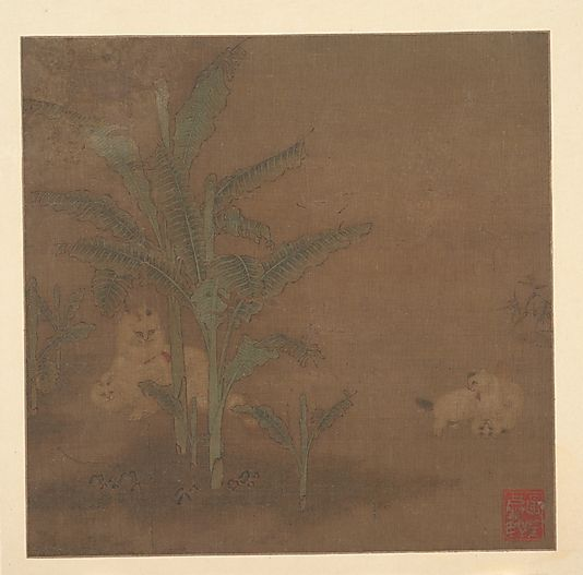 Unidentified Artist. Frolicking Kittens under a Banana Tree, 15th century. Ming dynasty (1368–1644). China. The Metropolitan Museum of Art, New York. Edward Elliott Family Collection, Purchase, The Dillon Fund Gift, 1982 (1982.1.3)   Kittens in a garden setting was a favorite subject of Academy painters during the Song dynasty. #cats