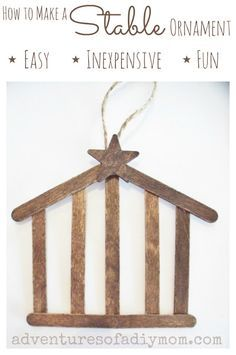 Make this stable nativity ornament. Using craft sticks, I created an simple, inexpensive ornament that is easy to make. Adding a coat of stain to the sticks gives it that rustic look that I love. Create your own. All you need is a few supplies and a couple minutes. #nativityornaments #nativitycrafts #stablecraft #stableornament #christmasnativityornaments#diystableornament #craftstick #craftstickideas #easykidscraft