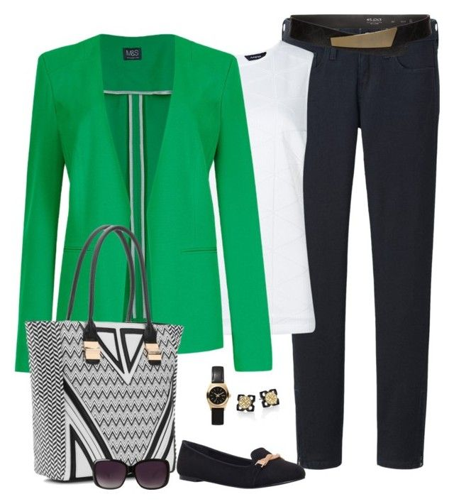 St. Patty's Day by fiftynotfrumpy on Polyvore featuring Uniqlo, Carvela, Melie Bianco, Nixon, Tory Burch, s.pa accessoires and Merona