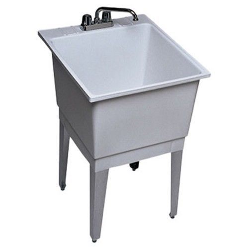 Free Standing Laundry Utility Room Sink Single Bowl White