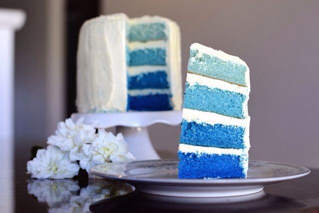 Blue Ombre Cake; such a cute idea :)