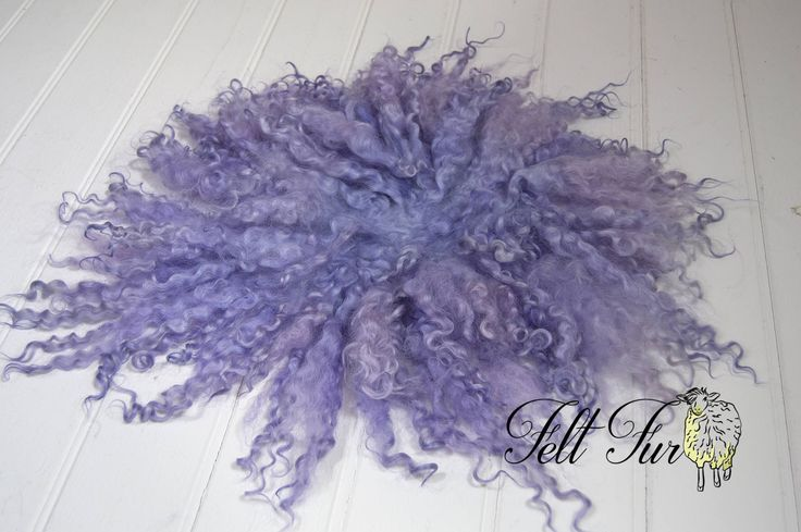 Curly Fur Felted Rug B042.  Newborn Photography Posing Prop. Lilac. Size B/C. Ready to Ship. by FeltFur on Etsy