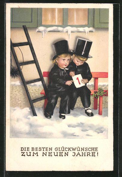 Alte Ansichtskarte: AK Glückwünsche zum Neuen Jahre!, Zwei kleine Schornsteinfeger