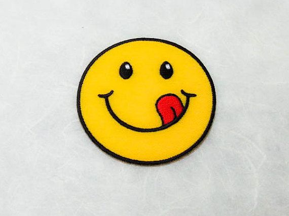 Smiley Face Iron on PatchL  Happy Smiley Face Applique