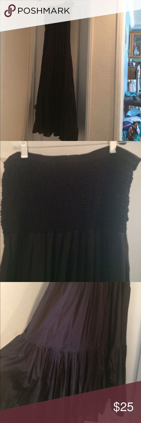 "Michael Michael Kors Strapless Maxi Dress Black flows maxi dress. Worn twice. Light weight linen like material. Perfect for summer. I am 5'1"" and the dress fell 3 inches past my ankles. Michael Kors Dresses Maxi"