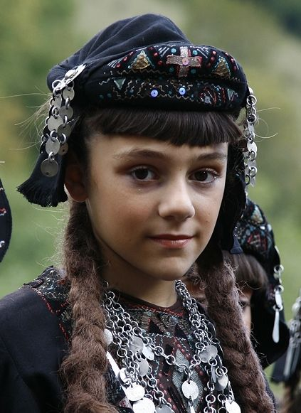 Traditional festive headgear from Georgia. Style: early 20th century. This is a recent workshop-made copy, as worn by folk dance groups.