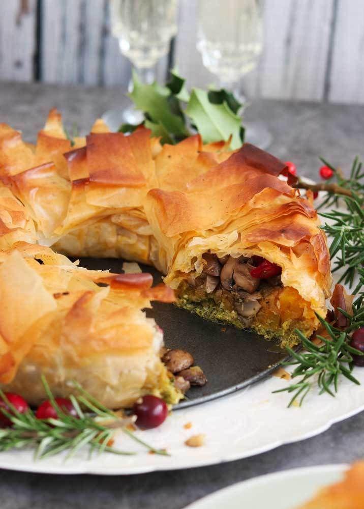 Chestnut Mushroom Squash Christmas Filo Wreath Pie The