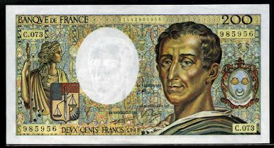 Currency of France 200 French Francs Montesquieu banknote of 1989, issued by the Bank of France - Banque de France.  Banknotes of France, French franc, French banknotes, currency of France, French printed banknotes, France paper money, French bank notes, France banknotes, French paper money, French currency , France bank notes, French currency history, French currency image gallery, old French currency,
