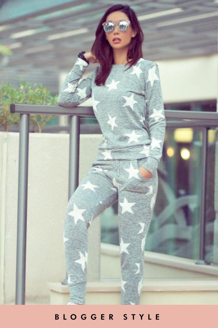 Aaliyah Grey Star Loungewear Set