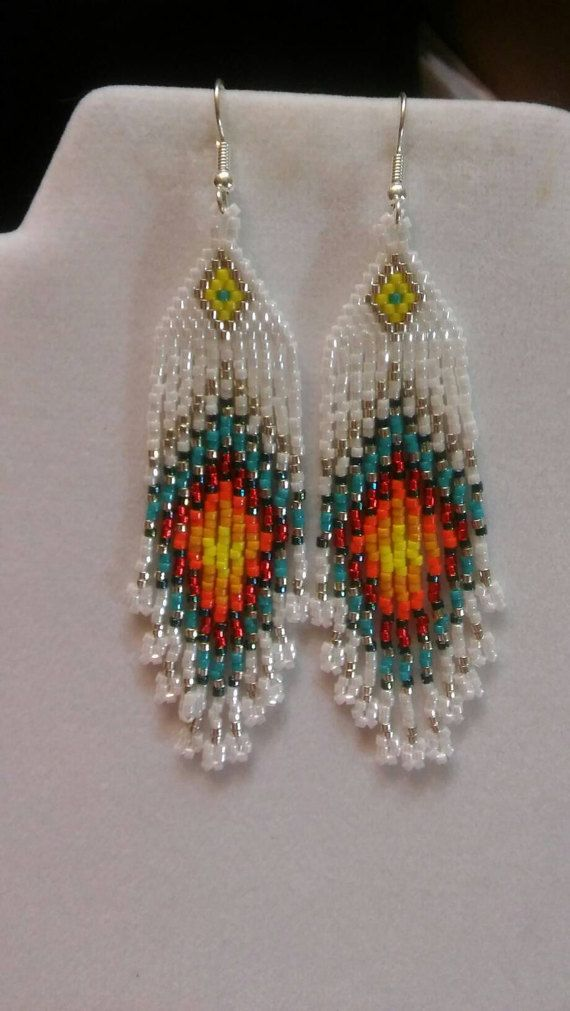 Native American Style Beaded Peacock Eye Turquoise Red