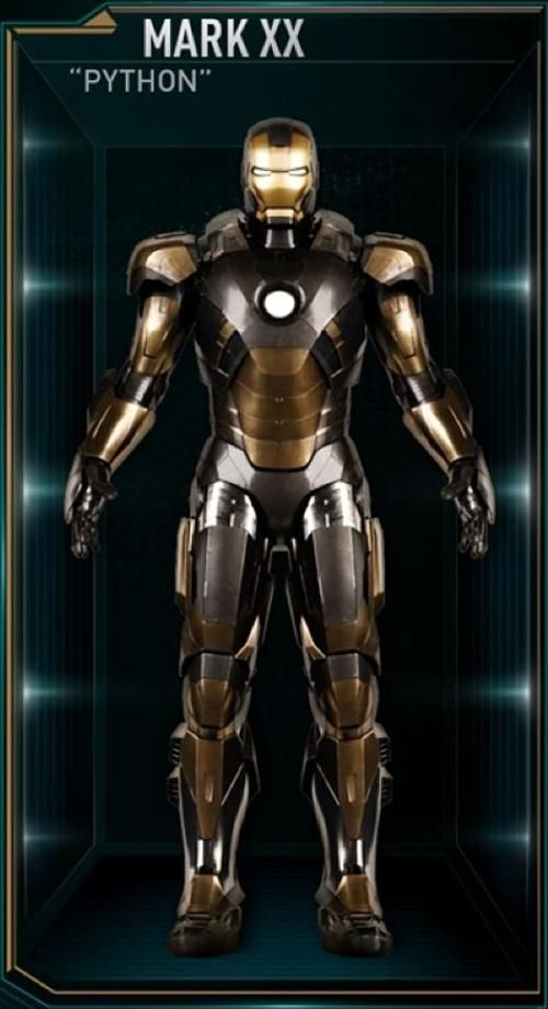 The Python is the twentieth Iron Man suit created by Tony Stark, and one of the many armors he developed after the battle for New York against Loki and the Chitauri. The attack had left him with the feeling that the world couldn't be safe for long, and that he needed to build more suits until the next time Earth was in danger. The Python suit was among those summoned by Stark to battle Extremis-enhanced soldiers assisting Aldrich Killian's plot. It was controlled at the time by Stark's…