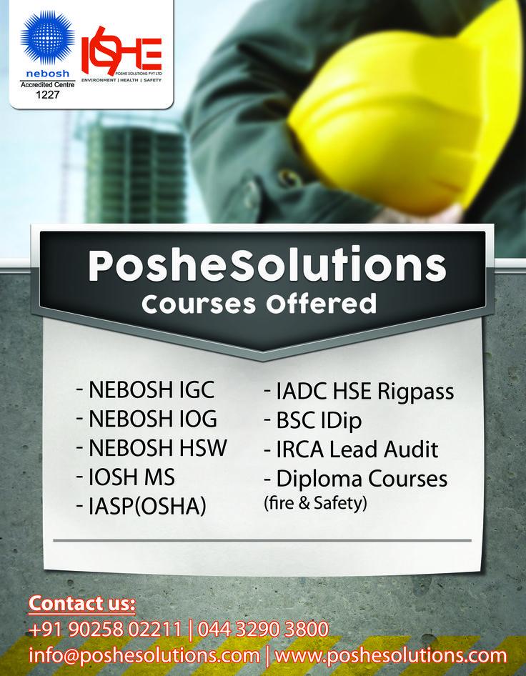 Poshe Provides Best Training For NEBOSH Course In Chennai