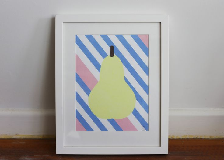 Lukas' Fruits by Swiden from Endemic World. #placesandgraces #collection #endemicworld #charlotteswiden #swiden #art #nzart #whiteframe #pear #fruit