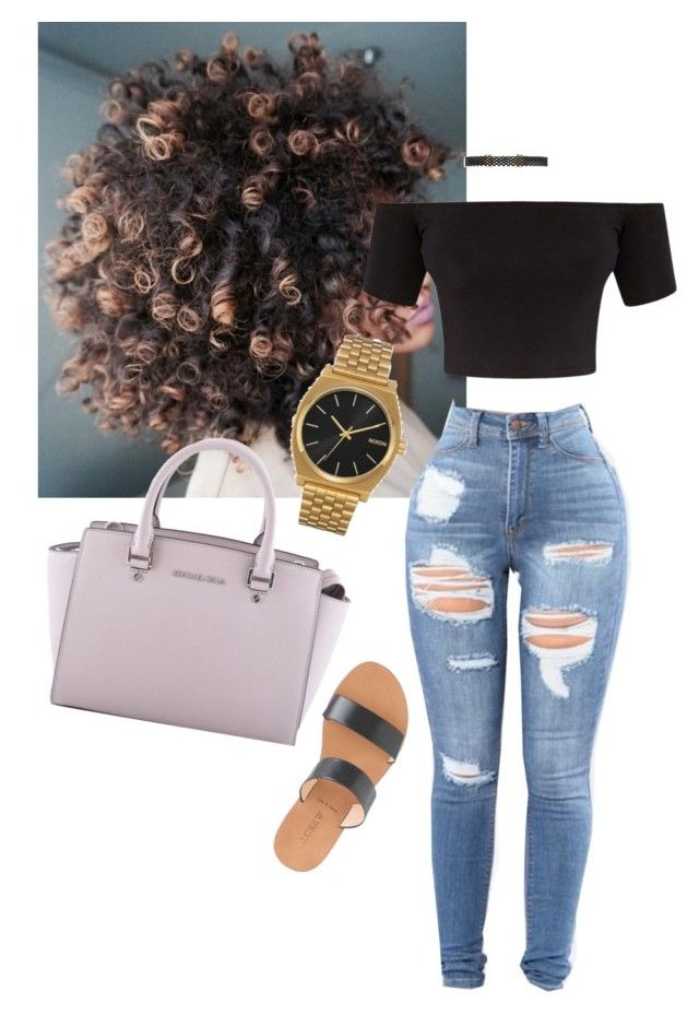 """""""Outfit"""" by angiebe1 ❤ liked on Polyvore featuring Forever 21, J.Crew, Nixon and MICHAEL Michael Kors"""