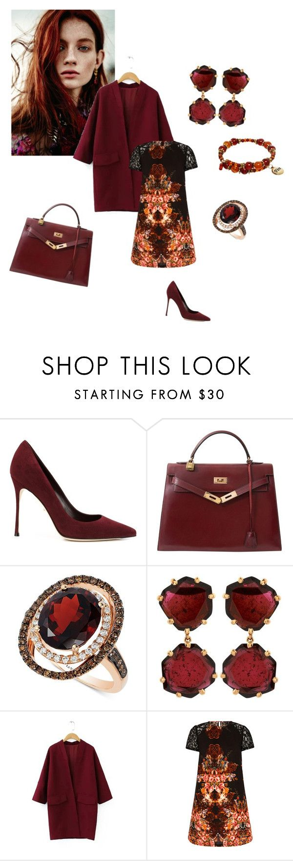 """""""Crimson Beauty"""" by kitty-hiruma on Polyvore featuring Sergio Rossi, Hermès, LE VIAN and Annoushka"""