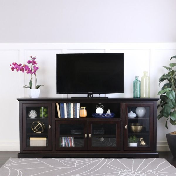 70 Espresso Wood Highboy Style TV Stand More