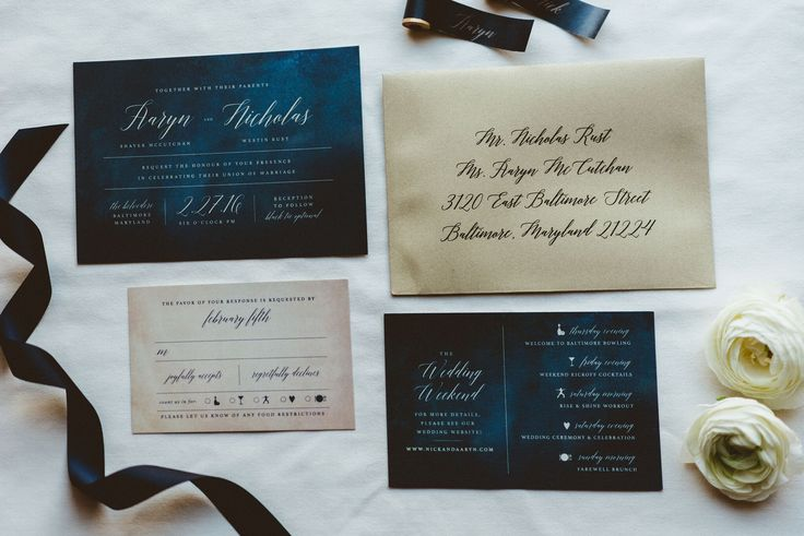 invitation suite // details card // reply card // ribbon // navy blue // gold // mlc designs // ranunculus // details // invitation
