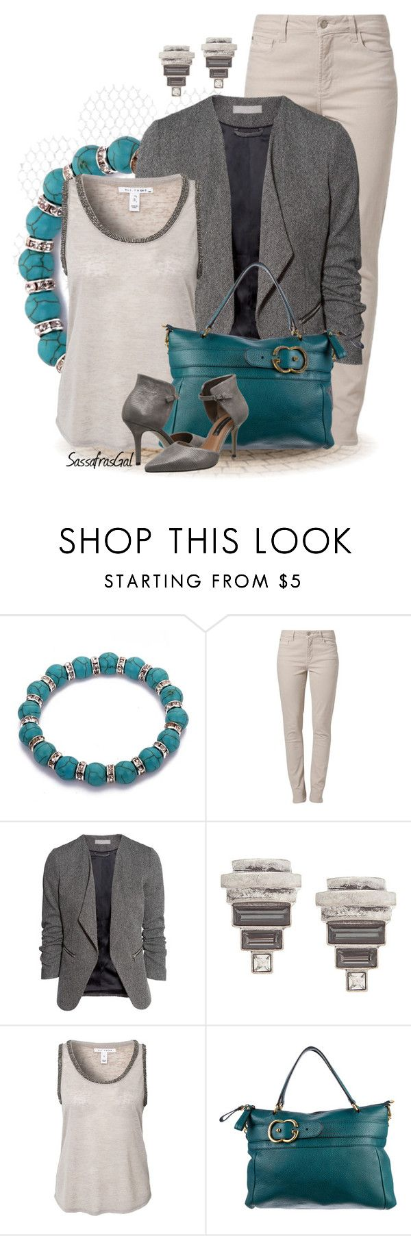 """Pop of Turquoise"" by sassafrasgal ❤ liked on Polyvore featuring NYDJ, H&M, Lane Bryant, NLY Trend, Gucci and Steven"
