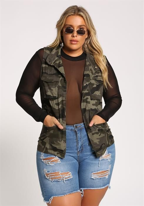 ae05e6e4297 Plus Size Camo Multi Pocket Utility Vest