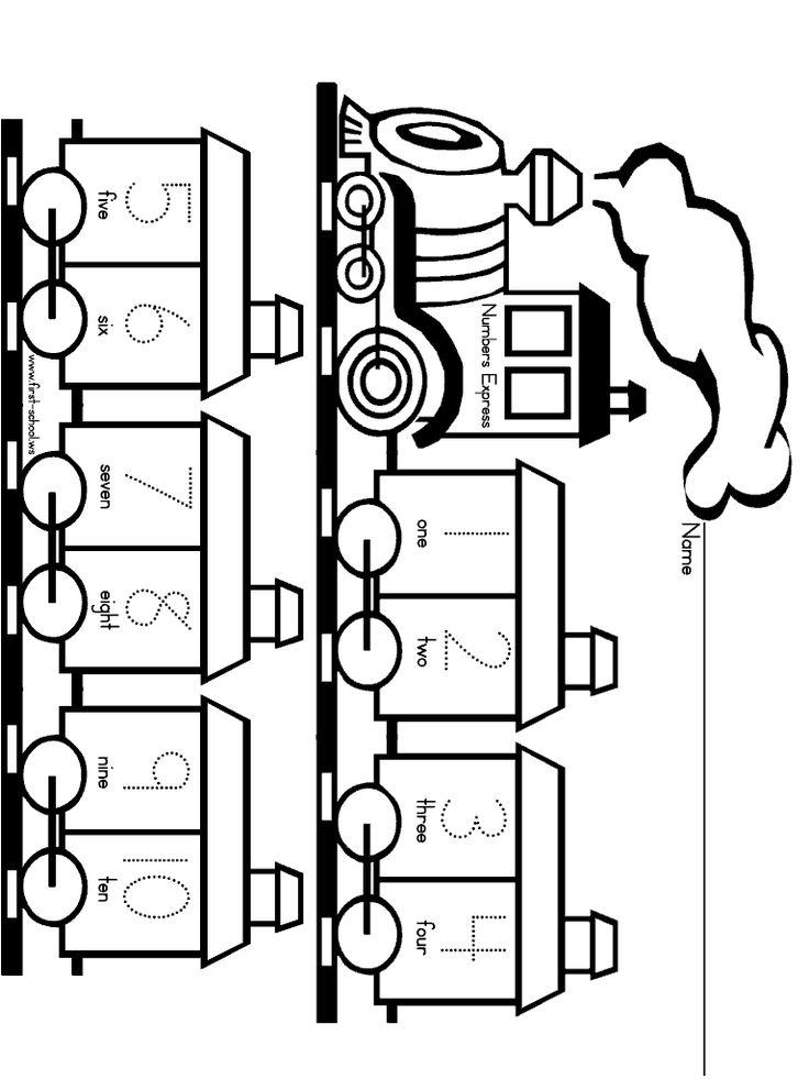 Numbers Worksheet One to Ten Train Printable Activities