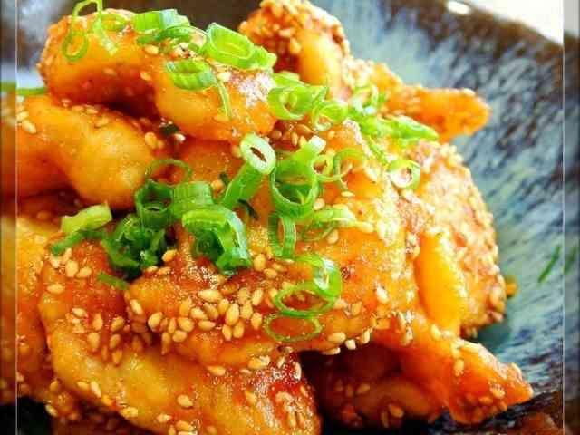 鶏皮の甘辛コチュジャン炒め