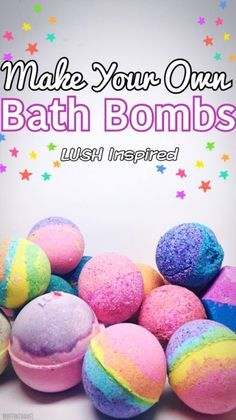 Make Your Own Bath Bombs – Lush Inspired  Perfect to make to indulge yourself or as a gift for birthday or the holidays. Fun & brightly rainbow colored!