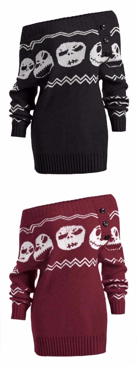 Off Shoulder Halloween Ghost Tunic Sweater