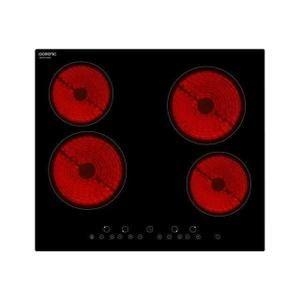OCEANIC TV4ZSE Table cuisson vitrocéramique-4 zones-6000W-L59xP52cm-Revêtement verre-Noir