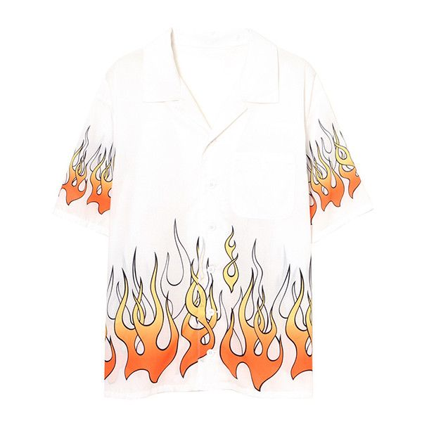 FIRE BLAZES SHIRT (5,520 DOP) ❤ liked on Polyvore featuring tops, white puffy shirt, white shirt, shirt top, puffy shirt and white top