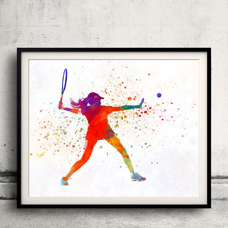 Woman tennis player 01 in watercolor - Fine Art Print Glicee Poster Home Watercolor sports Gift Room Illustration Wall - SKU 2318 by Paulrommer on Etsy
