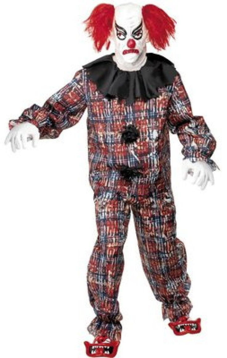 Scary Clown Costume, Comes with Top, Trousers, Gloves, Shoes and Hat. #FancyDress #Costume #Halloween #Circus #Scary #Clown