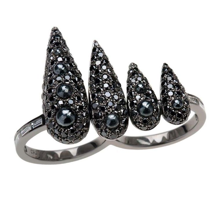 Giving it some edge - Nikos Koulis black diamond and rhodium ring. #black #diamonds #rings