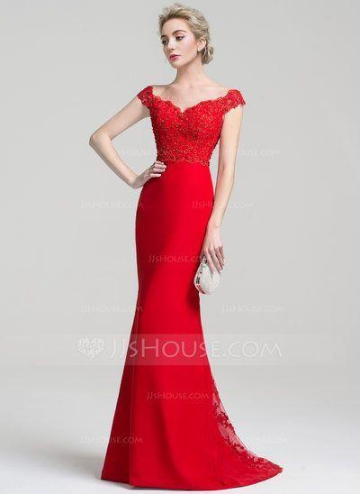 [R$ 523,97] Trompete/Sereia Off-the-ombro Sweep/Brush trem Tecido de seda Renda Vestido de festa com Beading lantejoulas