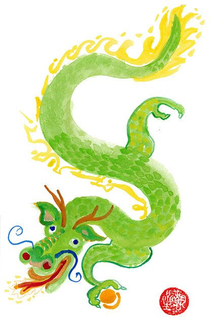 Green Chinese Dragon, Zen Dragon, Chinese New Year Zodiac, Watercolor Original Painting, zen decor, childs room art, japan illustration tao by ZenBrush