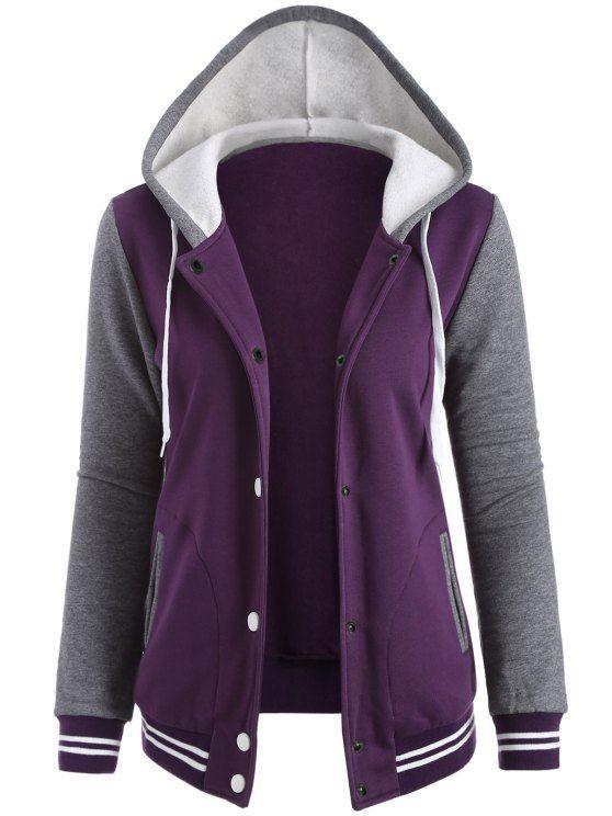 Béisbol del equipo universitario de paño grueso y suave chaqueta con capucha - Púrpura XL