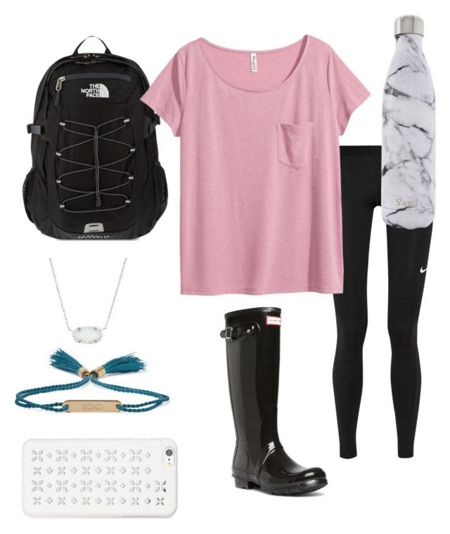 """""""Rainy day"""" by preppy-lilly-girl on Polyvore featuring NIKE, The North Face, H&M, Hunter, Kendra Scott, Chloé, S'well and MICHAEL Michael Kors"""