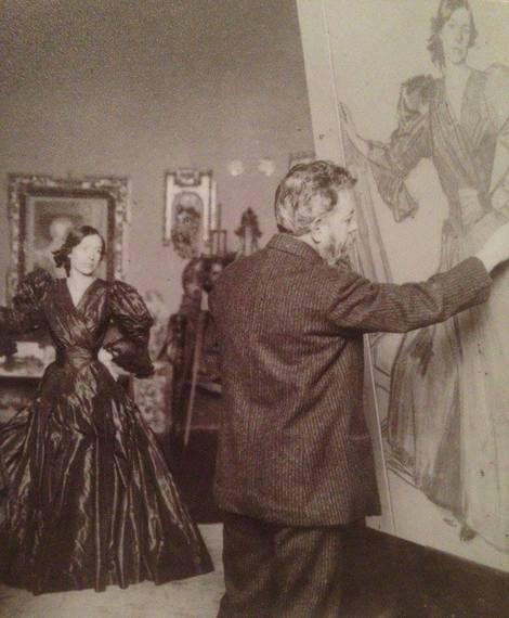 Joaquín Sorolla y Bastida, Joaquín Sorolla pintando Clotilde con traje negro, 1906. on ArtStack #joaquin-sorolla-y-bastida #art