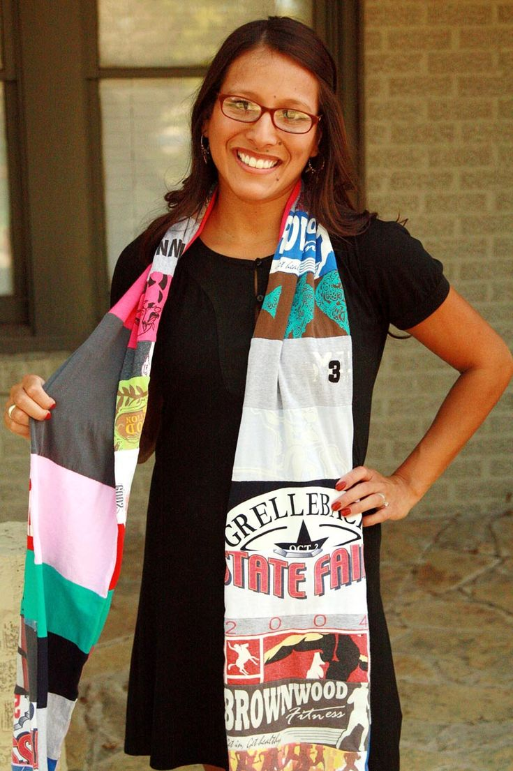 tshirt scarf - cute to make from old school spirit shirts to wear at the ballgames!