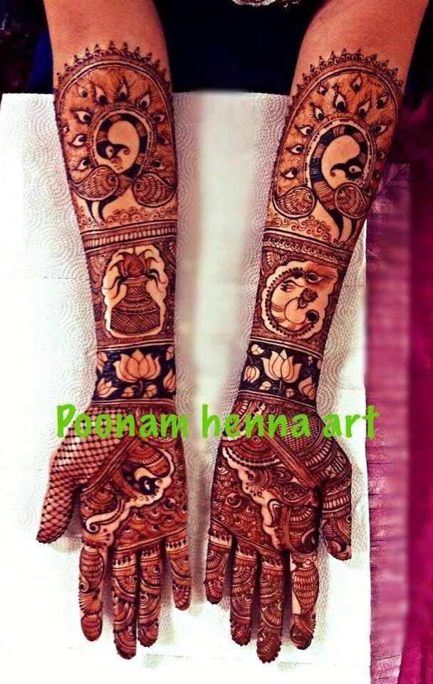 Bridal henna with Ganesha n peacock design.#mehndi #henna