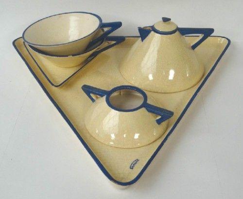 Art deco french Samara ceramic tea set Montières, France