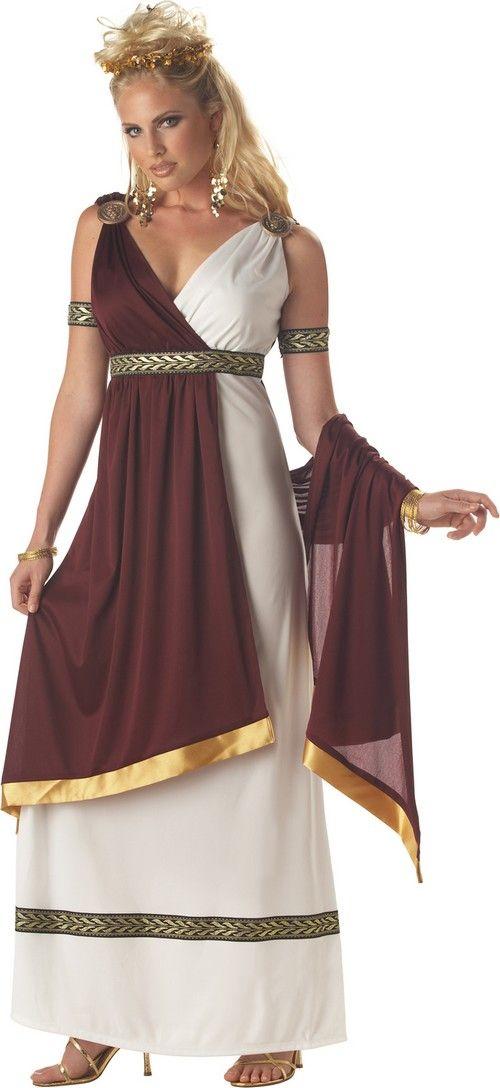 Disfraz de emperatriz romana mujer: Este disfraz de emperatriz romana para mujer está formado por un vestido con capa, dos brazaletes y dos medallones (cofia, brazaletes, pendientes y zapatos no incluidos).El vestido es largo de...