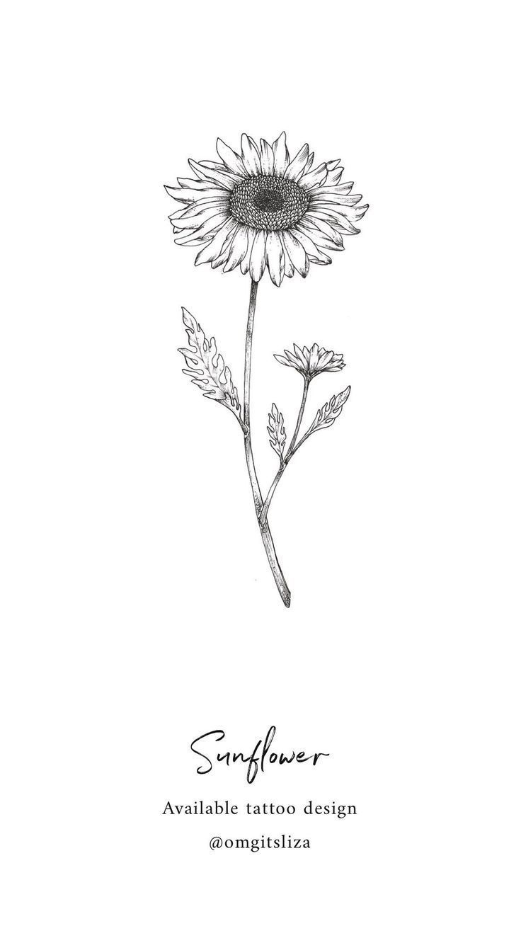 Sunflower – Tattoo Design – Illustration by Liza Sie – piercing – #Design # … #flowertattoos