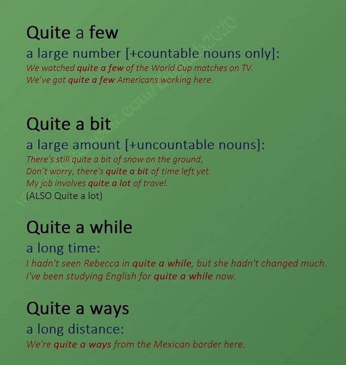Idioms with 'Quite'.