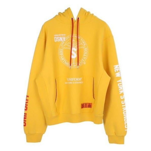 HERON PRESTON DSNY SWEATSHIRT HOODED YELLOW WHITE ❤ liked on Polyvore featuring tops, hoodies, yellow hoodies, ribbed top, white cotton tops, cotton hoodies and white top