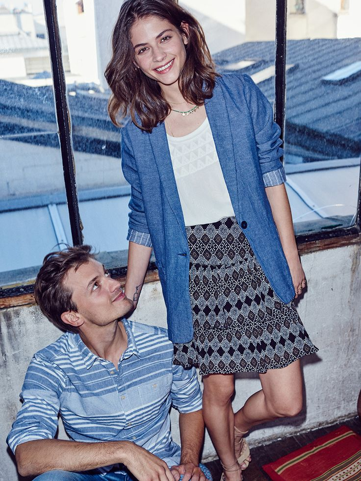 #ESPRIT #Spring #Lookbook #striped #denim #blazer #skirt #blouse #style