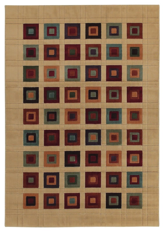 Multi Color Grid Block Squares Ivory Area Rug Machine Woven Impressions  Collection Contemporary   Shaw Rugs