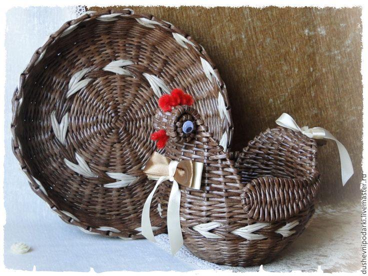 """Купить Плетёный набор """" Пасхальный"""" - коричневый, курочка ряба, Пасха, пасхальный сувенир"""