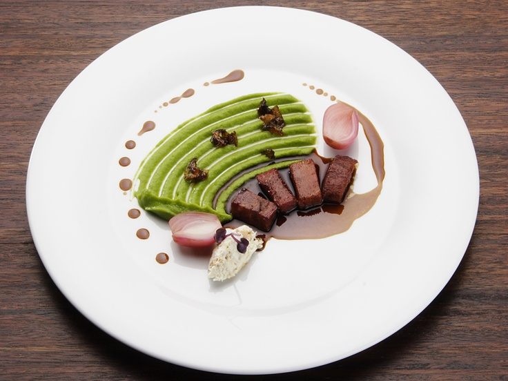Smoked veal tongue with split peas puree and horseraddish dumpling - Czech Cuisine with a French twist.  Looks interesting but absolutely delicious